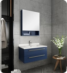 "Fresca FVN6130RBL-UNS Lucera 30"" Blue Wall Hung Undermount Sink Modern Bathroom Vanity with Medicine Cabinet"
