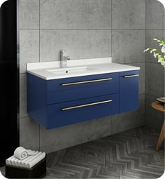 "Fresca FCB6136RBL-UNS-L-CWH-U Lucera 36"" Blue Wall Hung Modern Bathroom Cabinet with Top & Undermount Sink - Left Version"