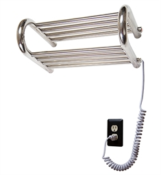 "Myson WERD01 Gem Series 18 1/8"" Wall Mount Emerald Electric Towel Warmer in Bright Stainless"