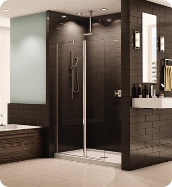 Fleurco ESS24-25-40 Banyo Siena Semi Frameless In Line Pivot Shower Shield With Hardware Finish: Brushed Nickel And Glass Type: Clear Glass