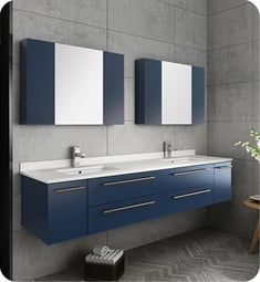 "Fresca FVN6172RBL-UNS-D Lucera 72"" Blue Wall Hung Double Undermount Sink Modern Bathroom Vanity with Medicine Cabinets"