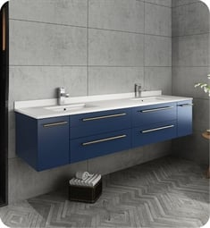 "Fresca FCB6172RBL-UNS-D-U Lucera 72"" Blue Wall Hung Modern Bathroom Cabinet with Top & Double Undermount Sinks"