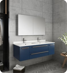 "Fresca FVN6148RBL-UNS-D Lucera 48"" Blue Wall Hung Double Undermount Sink Modern Bathroom Vanity with Medicine Cabinet"