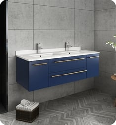 "Fresca FCB6148RBL-UNS-D-U Lucera 48"" Blue Wall Hung Modern Bathroom Cabinet with Top & Double Undermount Sinks"