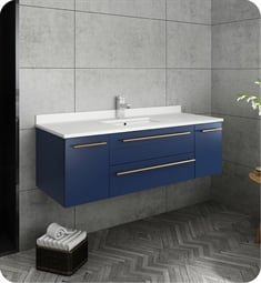 "Fresca FCB6148RBL-UNS-U Lucera 48"" Blue Wall Hung Modern Bathroom Cabinet with Top & Undermount Sink"