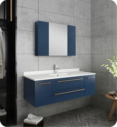 "Fresca FVN6148RBL-UNS Lucera 48"" Blue Wall Hung Undermount Sink Modern Bathroom Vanity with Medicine Cabinet"