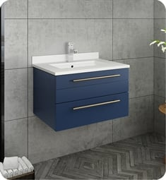 "Fresca FCB6124RBL-UNS-U Lucera 24"" Blue Wall Hung Modern Bathroom Cabinet with Top & Undermount Sink"