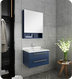"Fresca FVN6124RBL-UNS Lucera 24"" Blue Wall Hung Undermount Sink Modern Bathroom Vanity with Medicine Cabinet"