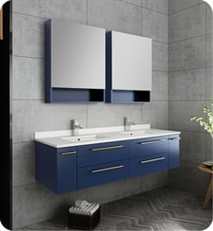 "Fresca FVN6160RBL-UNS-D Lucera 60"" Blue Wall Hung Double Undermount Sink Modern Bathroom Vanity with Medicine Cabinets"
