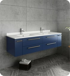 "Fresca FCB6160RBL-UNS-D-U Lucera 60"" Blue Wall Hung Modern Bathroom Cabinet with Top & Double Undermount Sinks"