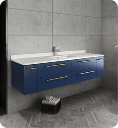 "Fresca FCB6160RBL-UNS-U Lucera 60"" Blue Wall Hung Modern Bathroom Cabinet with Top & Single Undermount Sink"