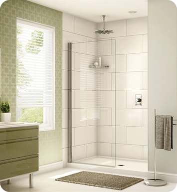Fleurco EST34-11-40 Banyo Siena Solo Semi Frameless In Line Shower Shield With Hardware Finish: Bright Chrome And Glass Type: Clear Glass