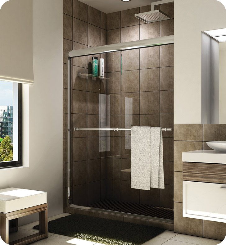 "Fleurco E2-448  Banyo Verona Semi Frameless In Line 48"" Sliding Shower Doors"