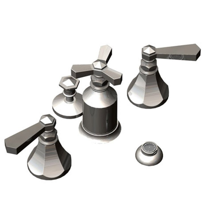 Rubinet 6DHXLSNSN Hexis Pressure Balance Bidet Fittings with Spray, Diverter with Built-In Vacuum Breaker & Pop-Up Assembly With Finish: Main Finish: Satin Nickel | Accent Finish: Satin Nickel