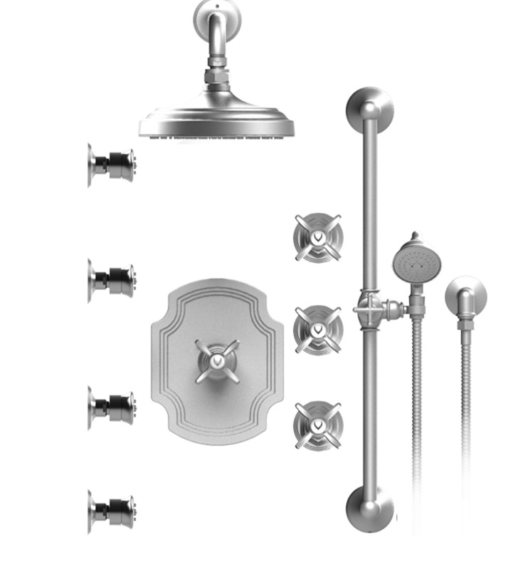 "Rubinet 46RVCGDWH Raven Temperature Control Shower with Wall Mount 8"" Shower Head, Bar, Integral Supply, Hand Held Shower & Four Body Sprays With Finish: Main Finish: Gold 
