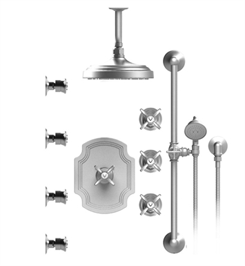 "Rubinet 47RVCSNNC Raven Temperature Control Shower with Ceiling Mount 8"" Shower Head, Bar, Integral Supply, Hand Held Shower & Four Body Sprays With Finish: Main Finish: Satin Nickel 