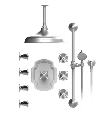 "Rubinet 48RVCSNSN Raven Temperature Control Shower with Ceiling Mount 12"" Shower Head, Bar, Integral Supply, Hand Held Shower & Four Body Sprays With Finish: Main Finish: Satin Nickel 