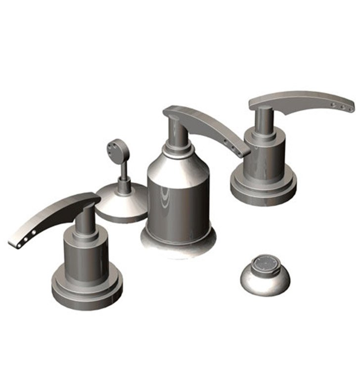 Rubinet 6CLALCHMB LaSalle Bidet Fittings with Spray, Diverter with Built-In Vacuum Breaker & Pop-Up Assembly With Finish: Main Finish: Chrome | Accent Finish: Matt Black