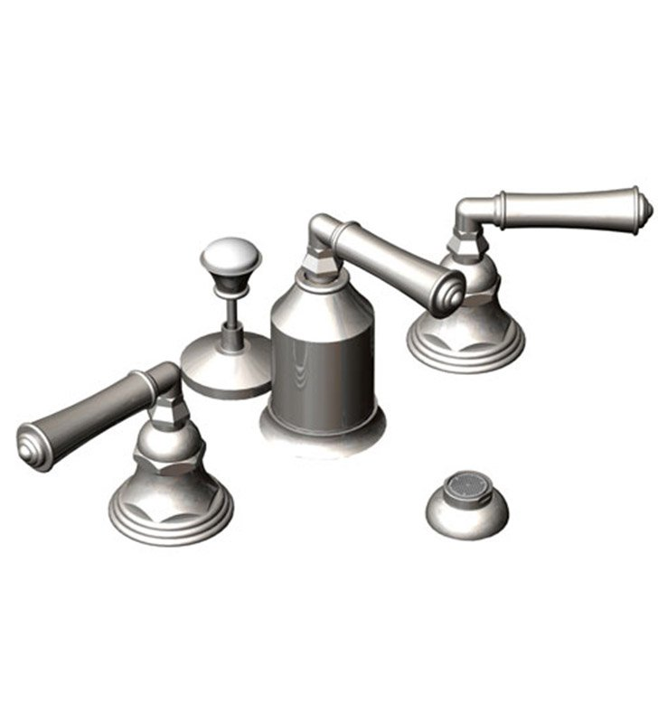 Rubinet 6CRVLSNWH Raven Bidet Fittings with Spray, Diverter with Built-In Vacuum Breaker & Pop-Up Assembly With Finish: Main Finish: Satin Nickel | Accent Finish: White
