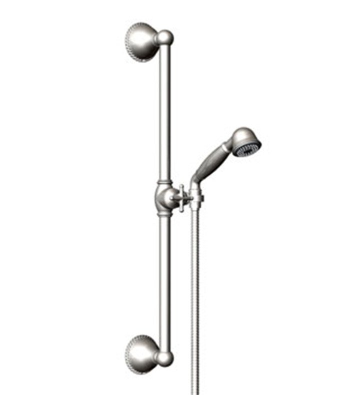 Rubinet 4GET0PNGD Etruscan Adjustable Slide Bar & Hand Held Shower Assembly With Finish: Main Finish: Polished Nickel | Accent Finish: Gold