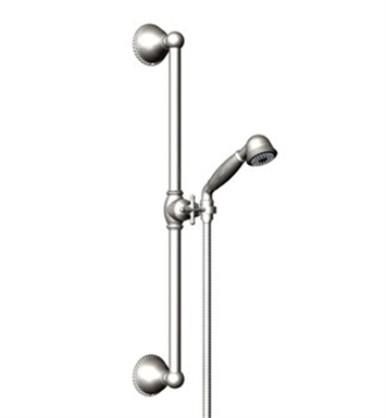 Rubinet 4GET0SNBB Etruscan Adjustable Slide Bar & Hand Held Shower Assembly With Finish: Main Finish: Satin Nickel | Accent Finish: Bright Brass