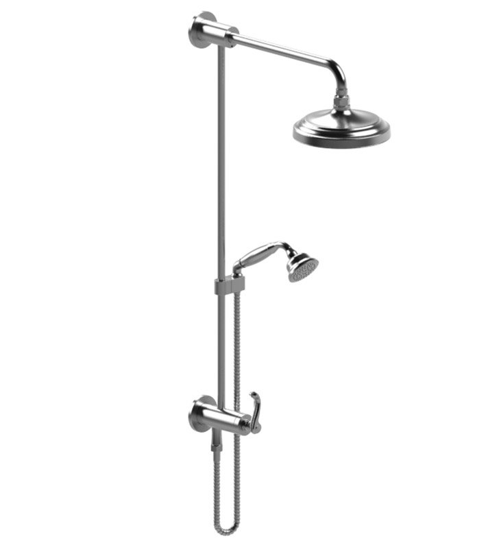 Rubinet 4UET1 Etruscan Bar with Inlet at Diverter, Shower Head,Shower Arm, Adjustable Slide Bar and Hand Held Shower with Diverter