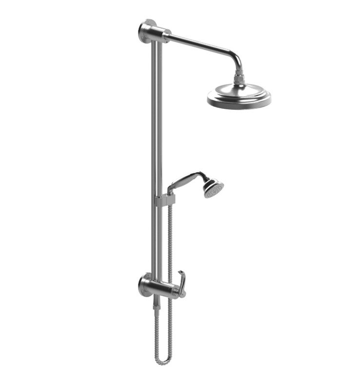 Rubinet 4UET2BBBB Etruscan Bar with Inlet at Shower Head, Shower Arm, Adjustable Slide Bar and Hand Held Shower with Diverter With Finish: Main Finish: Bright Brass | Accent Finish: Bright Brass
