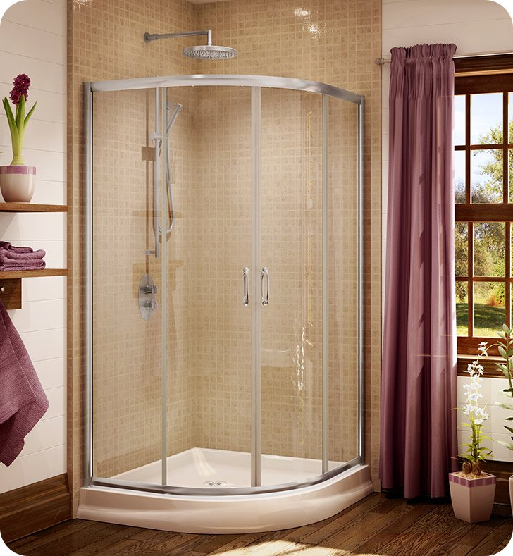 "Fleurco FA36-25-65  Signature Capri Round 4 Frameless Curved Glass 36"" Sliding Shower Doors With Hardware Finish: Brushed Nickel And Glass Type: Prism Glass"