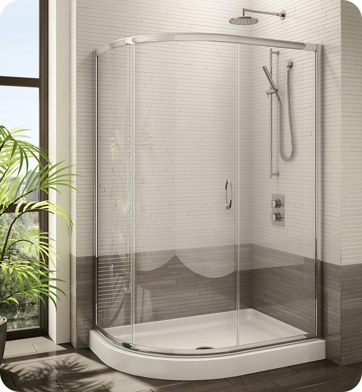 Fleurco FA483 Signature Capri Half Round Frameless Curved Glass Sliding Shower Door