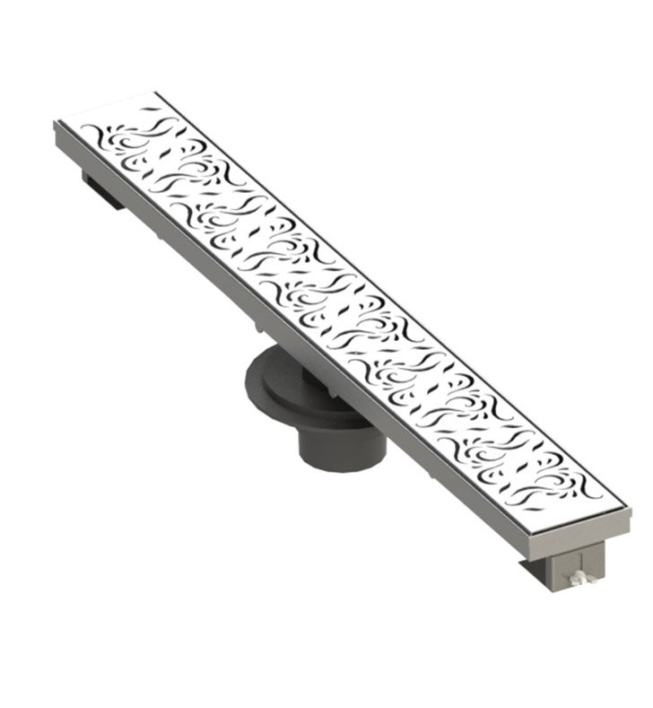 "Rubinet 9FSD32SB 32"" Linear Shower Drain with Paisley Pattern With Finish: Satin Brass"