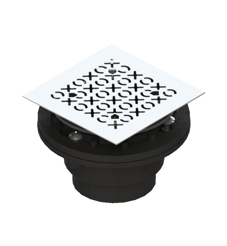 Rubinet 9FSD23BK Shower Drain for concrete base with XOXO pattern With Finish: Black
