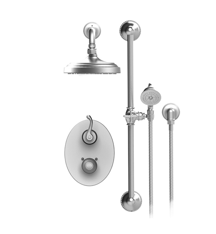 "Rubinet 21ETLCHCH Etruscan Temperature Control Shower with Two Way Diverter & Shut-Off, Handheld Shower, Bar, Integral Supply & Wall Mount 8"" Shower Head & Arm With Finish: Main Finish: Chrome 