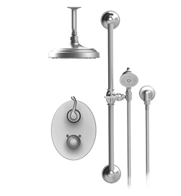 "Rubinet 22ETLSNSN Etruscan Temperature Control Shower with Two Way Diverter & Shut-Off, Handheld Shower, Bar, Integral Supply & Ceiling  Mount 8"" Shower Head & Arm With Finish: Main Finish: Satin Nickel 