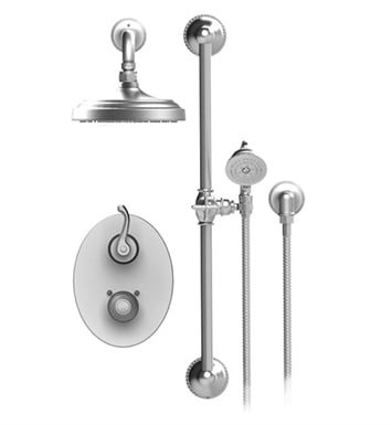 Rubinet 20ETLCHCH Etruscan Temperature Control Shower with Two Way Diverter & Shut-Off, Handheld Shower, Bar, Integral Supply & Aquatron 3 Function Shower Head & Arm With Finish: Main Finish: Chrome | Accent Finish: Chrome