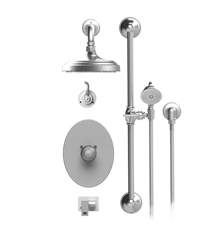"Rubinet 27ETLCHCH Etruscan Temperature Control Tub & Shower with Three Way Diverter & Shut-Off, Handheld Shower, Bar, Integral Supply, Wall Mount Bidet/Foot Rinse and Wall Mount 8"" Shower Head & Arm With Finish: Main Finish: Chrome 
