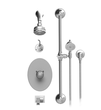 Rubinet 26ETLSNSN Etruscan Temperature Control Tub & Shower with Three Way Diverter & Shut-Off, Handheld Shower, Bar, Integral Supply, Wall Mount Bidet/Foot Rinse and Aquatron 3 Function Shower Head & Arm With Finish: Main Finish: Satin Nickel | Accent Finish: Satin Nickel