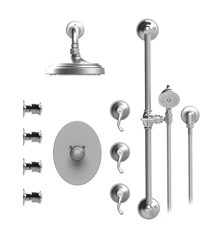 "Rubinet 46ETLBBBB Etruscan Temperature Control Shower with Wall Mount 8"" Shower Head, Bar, Integral Supply, Hand Held Shower & Four Body Sprays With Finish: Main Finish: Bright Brass 