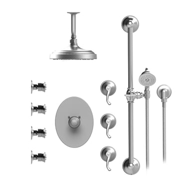 "Rubinet 47ETLSNSN Etruscan Temperature Control Shower with Ceiling Mount 8"" Shower Head, Bar, Integral Supply, Hand Held Shower & Four Body Sprays With Finish: Main Finish: Satin Nickel 