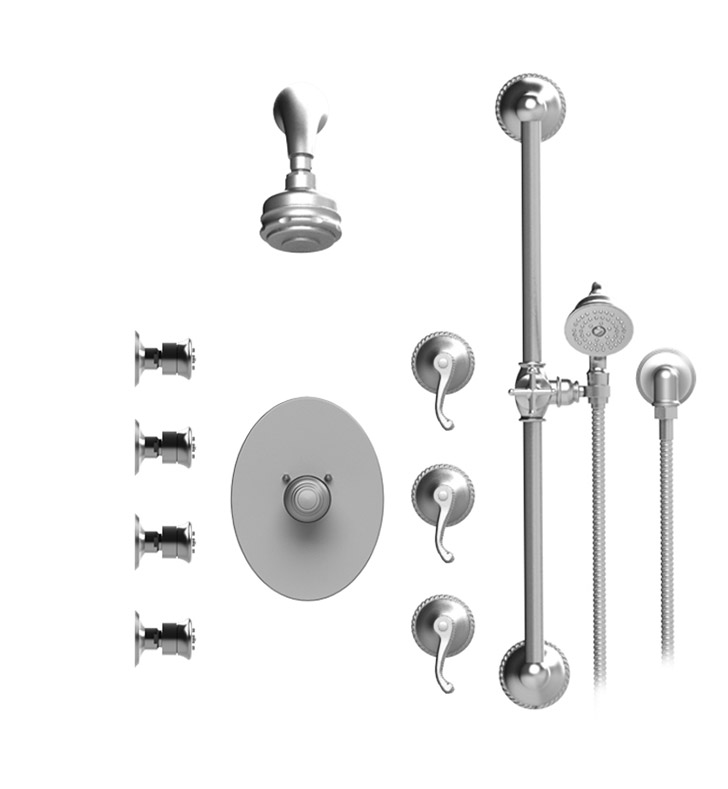 Rubinet 45ETLCHCH Etruscan Temperature Control Shower with Aquatron 3 Function  Shower Head, Bar, Integral Supply, Hand Held Shower & Four Body Sprays With Finish: Main Finish: Chrome | Accent Finish: Chrome