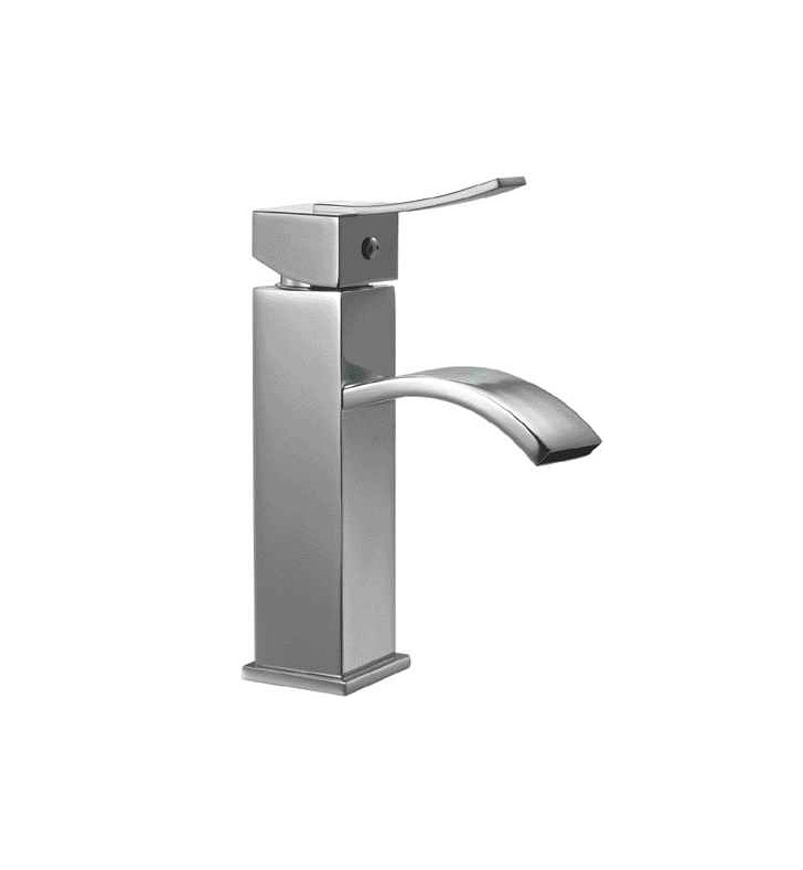 ALFI Brand AB1258-BN Brushed Nickel Square Body Curved Spout Single Lever Bathroom Faucet