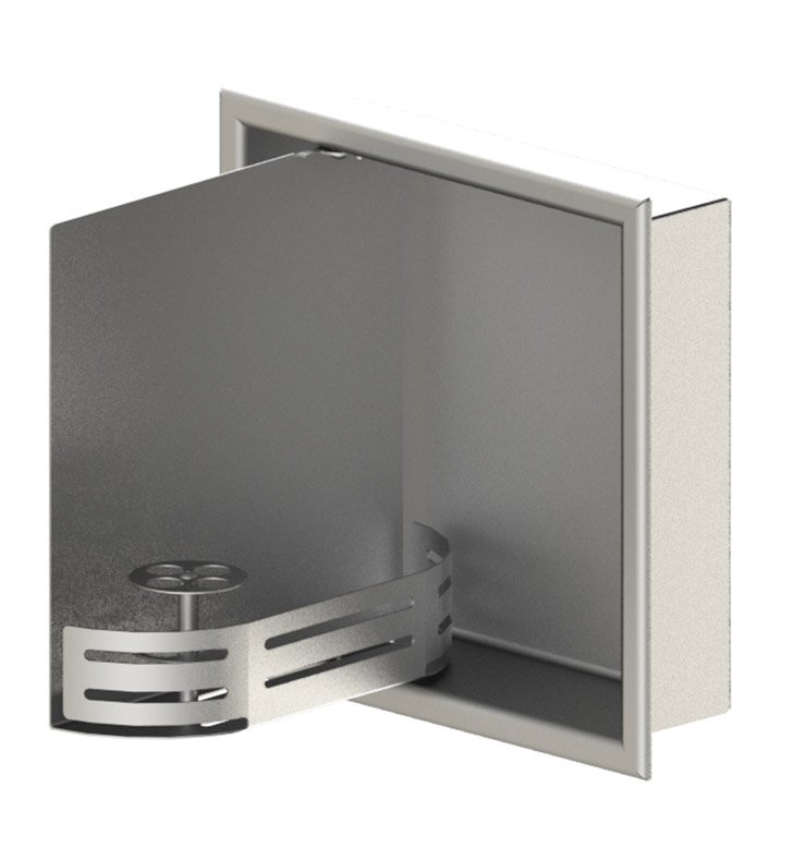 "Rubinet 9TWN3SNMW 12""x12"" Recessed Wall Niche with Door With Finish: Main Finish: Satin Nickel 