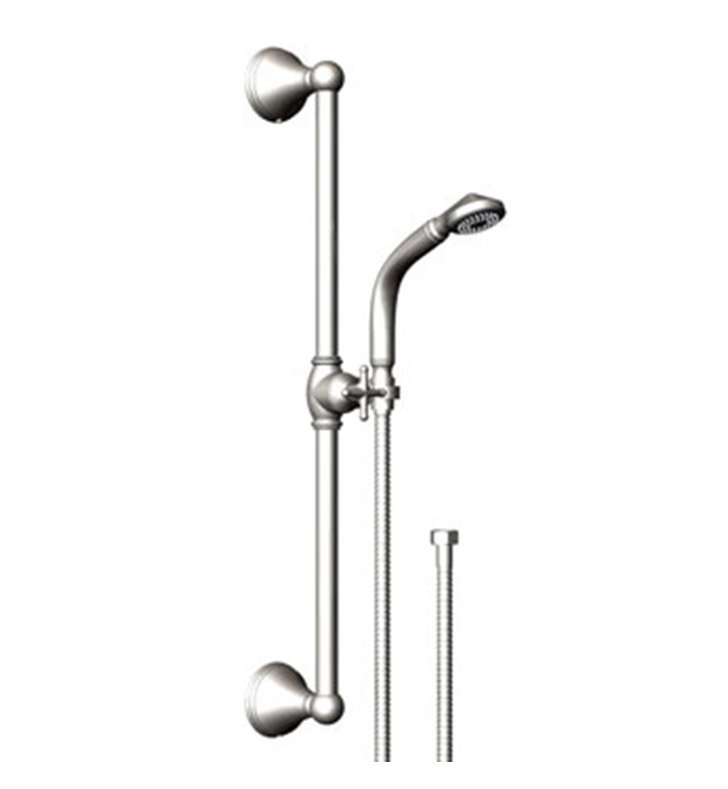Rubinet 4GJS0CHBB Jasmin Adjustable Slide Bar & Hand Held Shower Assembly With Finish: Main Finish: Chrome | Accent Finish: Bright Brass
