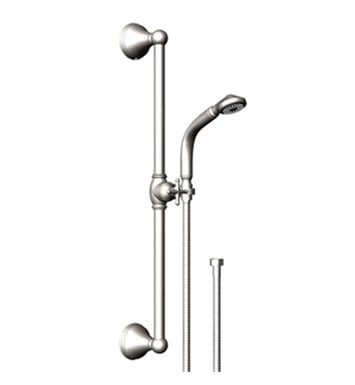 Rubinet 4GJS0SCBB Jasmin Adjustable Slide Bar & Hand Held Shower Assembly With Finish: Main Finish: Satin Chrome | Accent Finish: Bright Brass