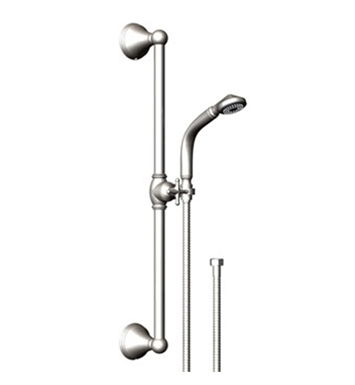 Rubinet 4GJS0SBBB Jasmin Adjustable Slide Bar & Hand Held Shower Assembly With Finish: Main Finish: Satin Brass | Accent Finish: Bright Brass