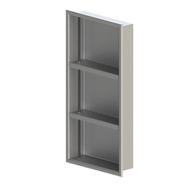 "Rubinet 9TWN4WHWH 12""x24"" Recessed Wall Niche with Two Adjustable Shelves (for vertical use) With Finish: Main Finish: White 