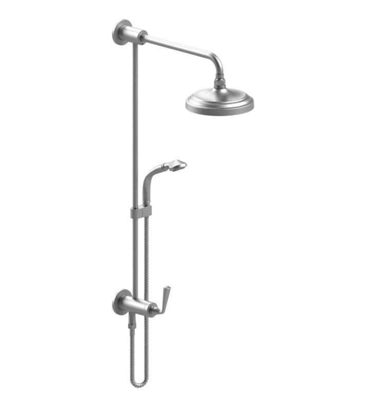 Rubinet 4UJS1SNSN Jasmin Bar with Inlet at Diverter, Shower Head,Shower Arm, Adjustable Slide Bar and Hand Held Shower with Diverter With Finish: Main Finish: Satin Nickel | Accent Finish: Satin Nickel