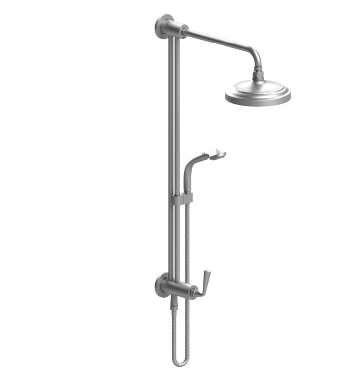 Rubinet 4UJS2CHCH Jasmin Bar with Inlet at Shower Head, Shower Arm, Adjustable Slide Bar and Hand Held Shower with Diverter With Finish: Main Finish: Chrome | Accent Finish: Chrome