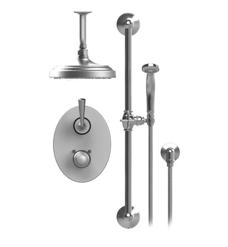 "Rubinet 22JSL Jasmin Temperature Control Shower with Two Way Diverter & Shut-Off, Handheld Shower, Bar, Integral Supply & Ceiling  Mount 8"" Shower Head & Arm"