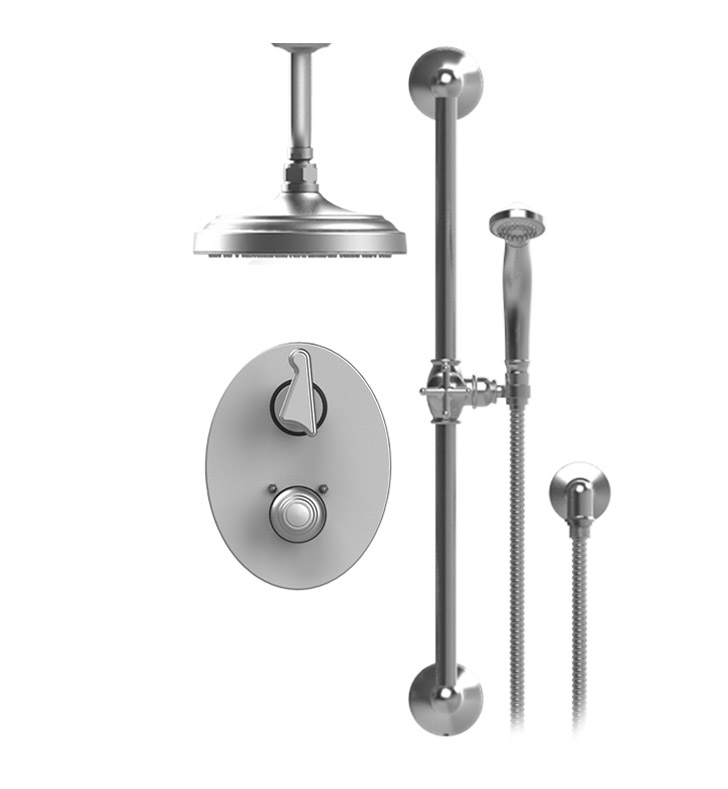 "Rubinet 22JSSSNSN Jasmin Temperature Control Shower with Two Way Diverter & Shut-Off, Handheld Shower, Bar, Integral Supply & Ceiling  Mount 8"" Shower Head & Arm With Finish: Main Finish: Satin Nickel 