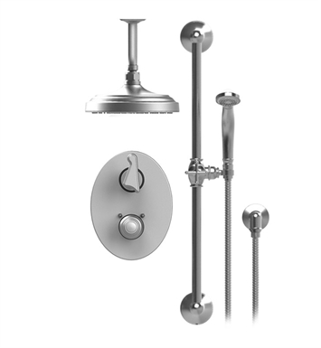 "Rubinet 22JSS Jasmin Temperature Control Shower with Two Way Diverter & Shut-Off, Handheld Shower, Bar, Integral Supply & Ceiling  Mount 8"" Shower Head & Arm"